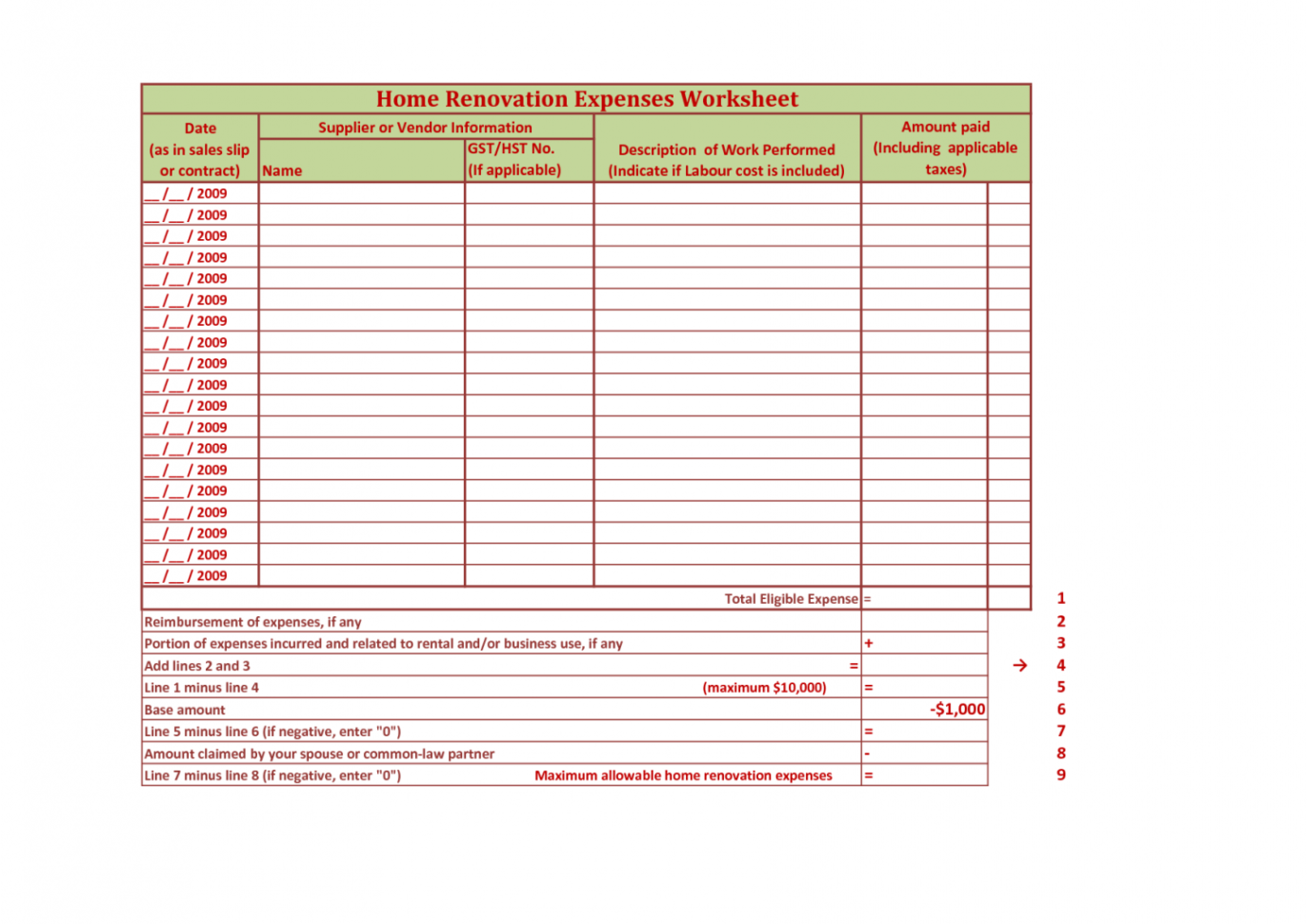 Renovation Spreadsheet Template Spreadsheet Templates For Busines Excel Spreadsheet For Home