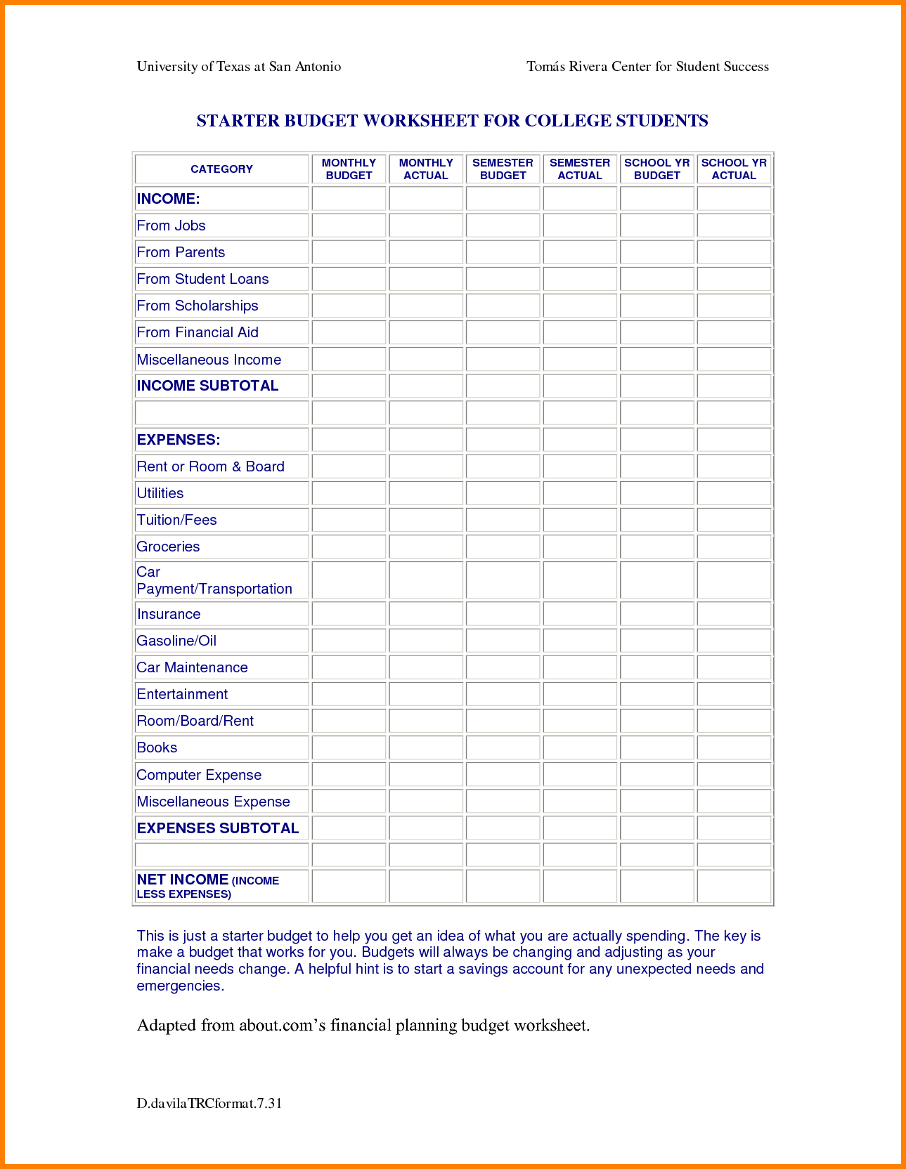 Typical College Student Budget College Budget Template