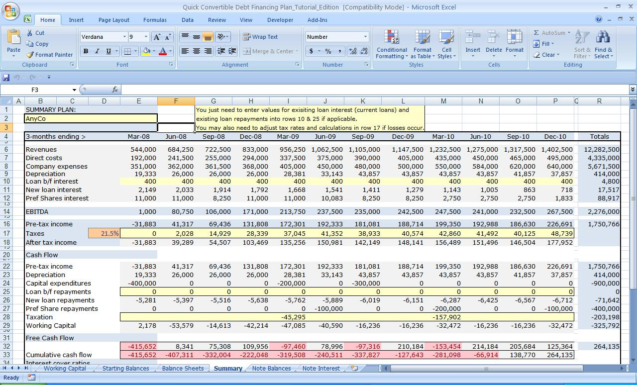 Business Plan Financial Template Db Excel