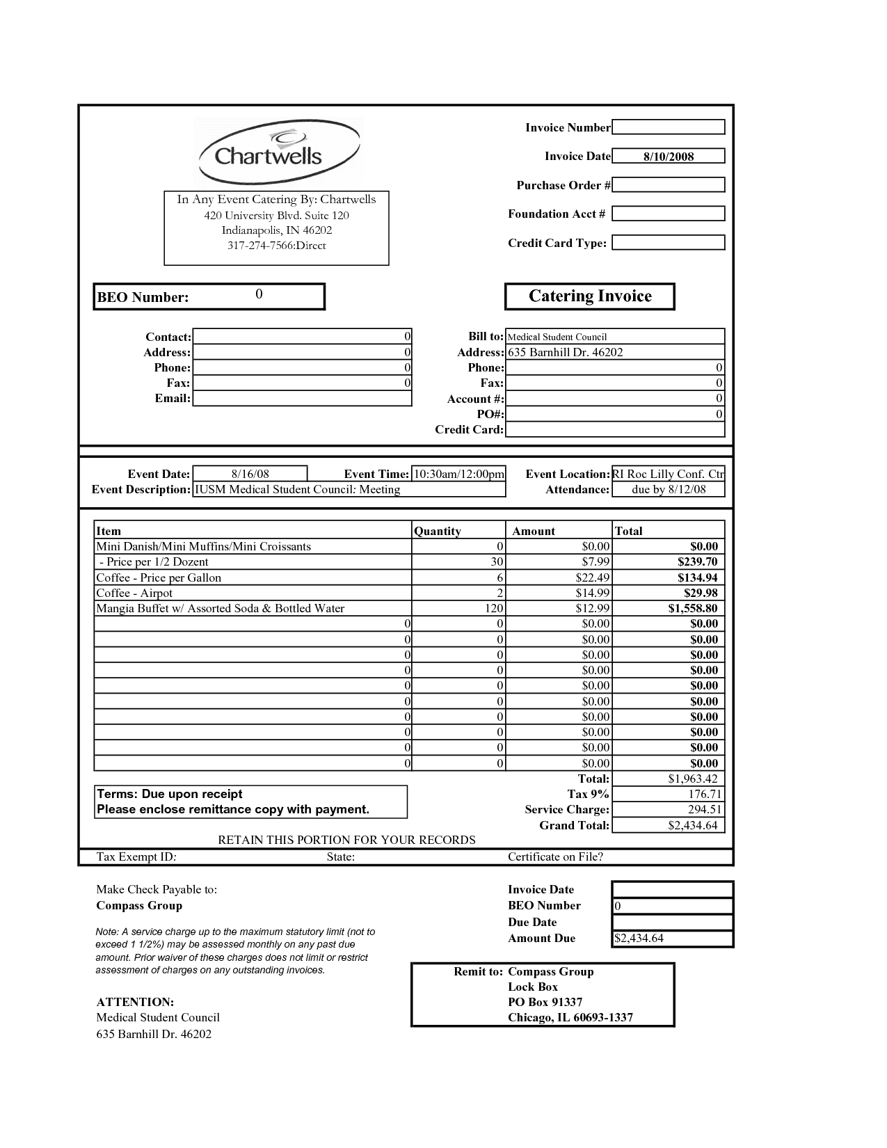 Catering Invoice Form