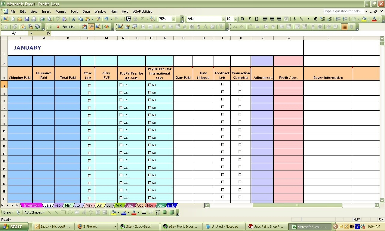 Ebay Bookkeeping Spreadsheet Free Bookkeeping Spreadshee