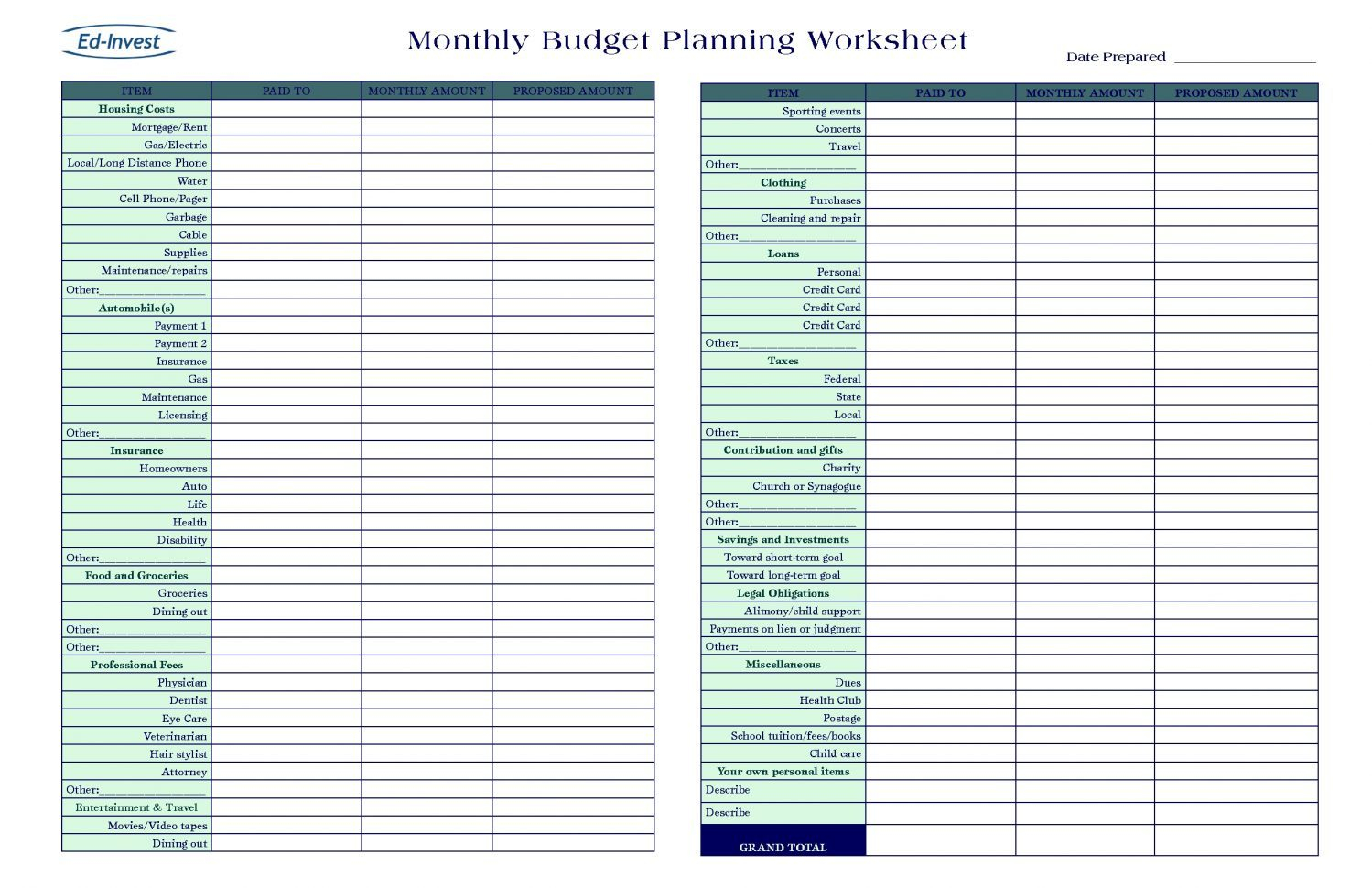 Budget Planner Monthly Spreadsheet Template Personal