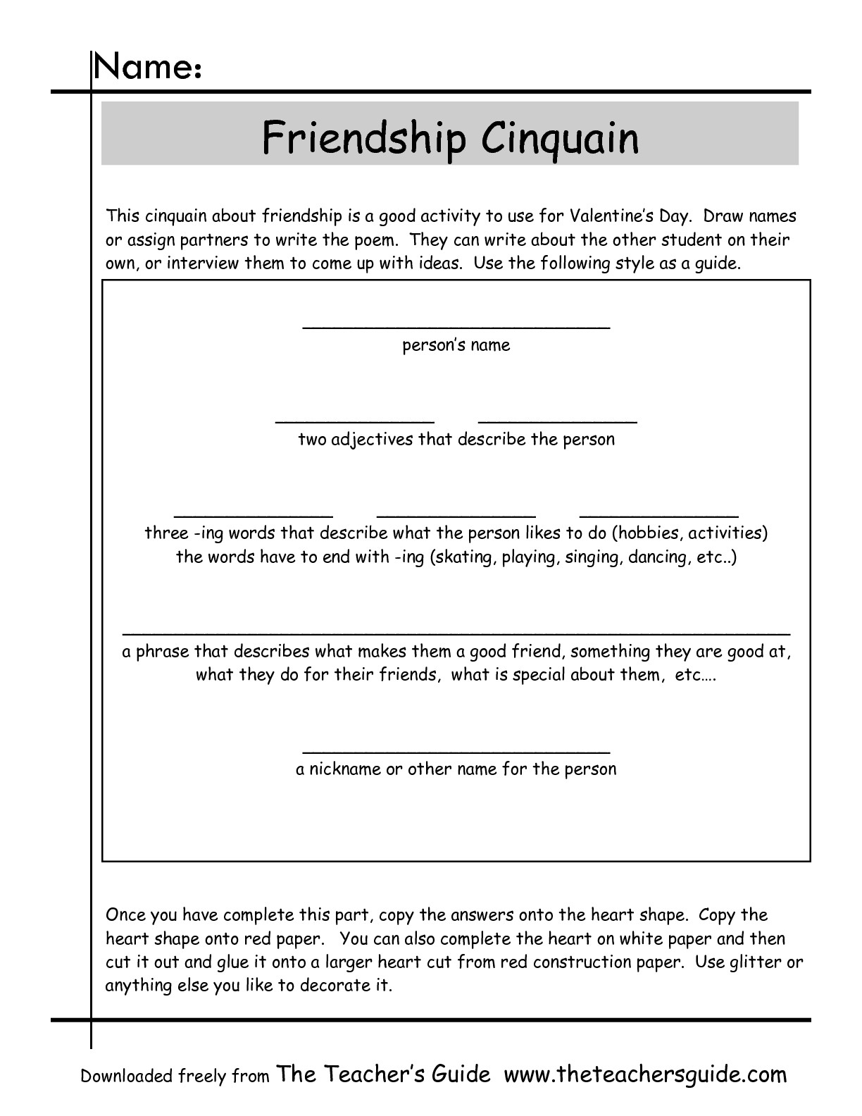 Cinquain Poems Worksheets From The Teacher S Guide To