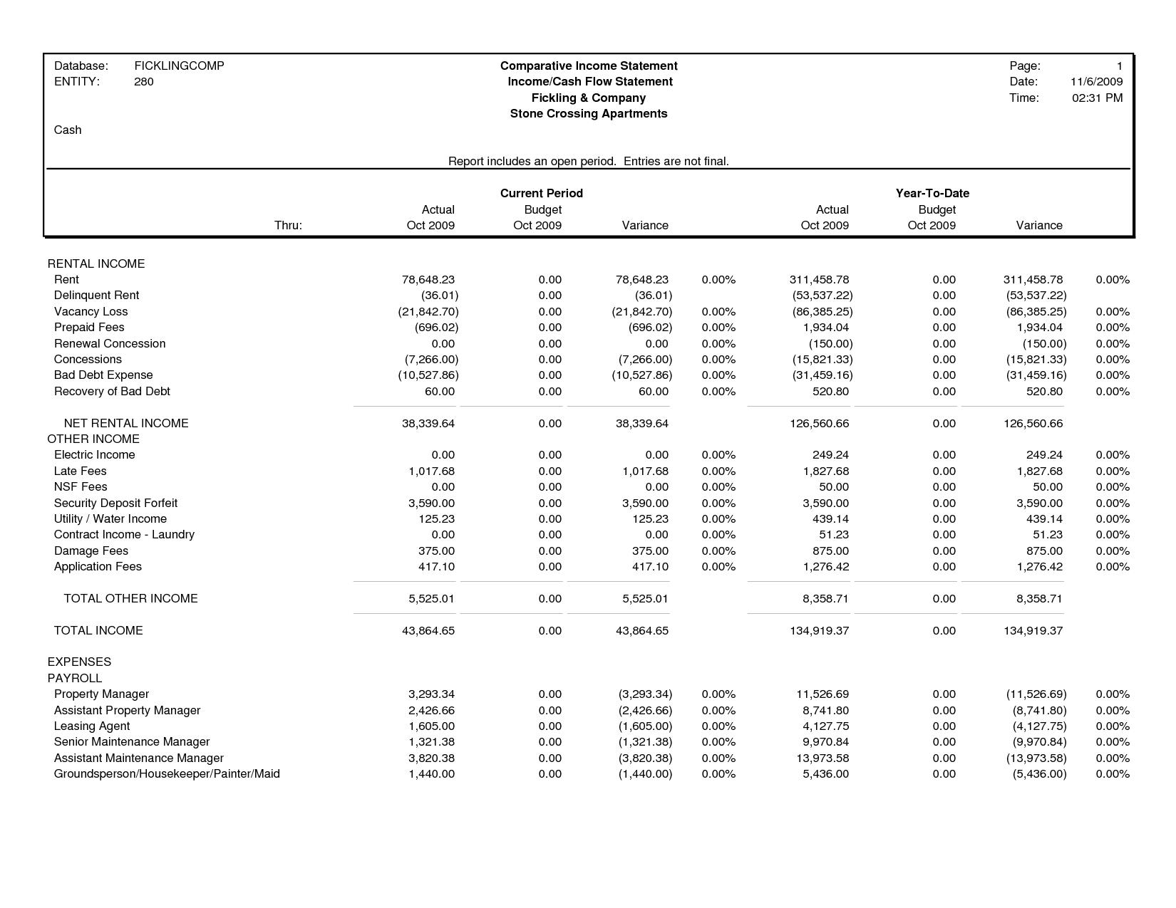 Comparative Income Statement Template