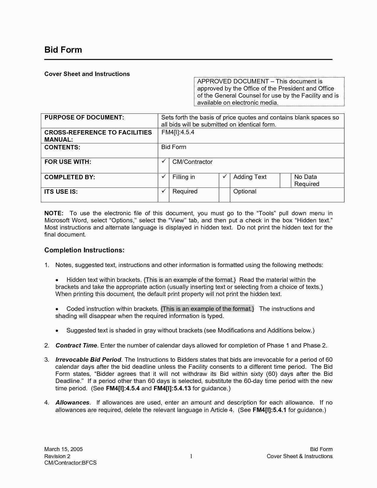Construction Bid Template Awesome General Contractor