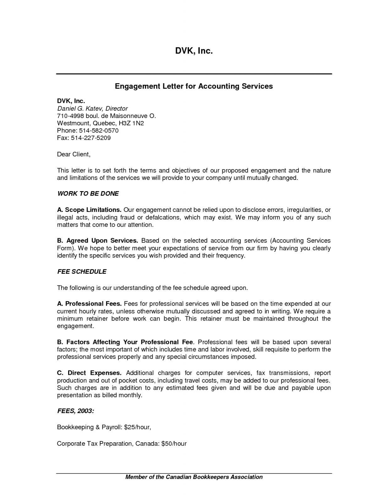 Free Download Sample 17 Bookkeeping Engagement Letter