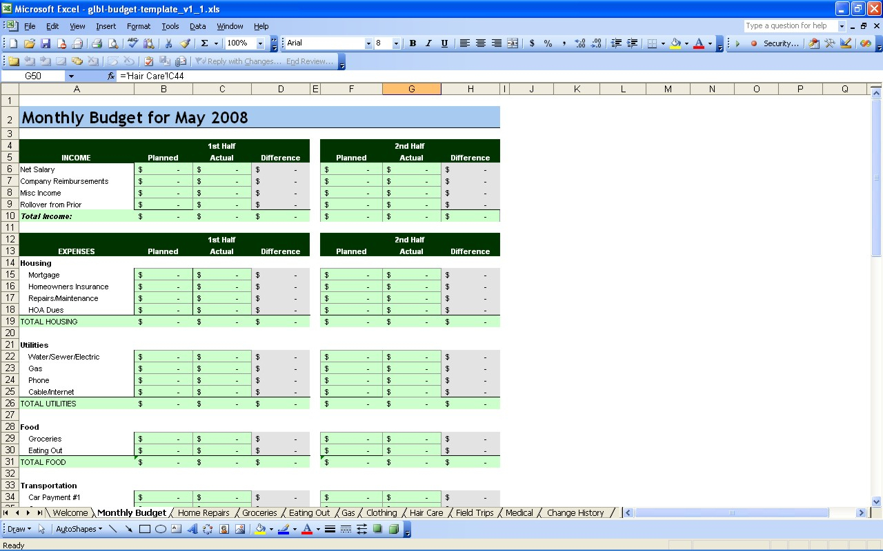 Personal Budget Finance Excel Spreadsheet Template