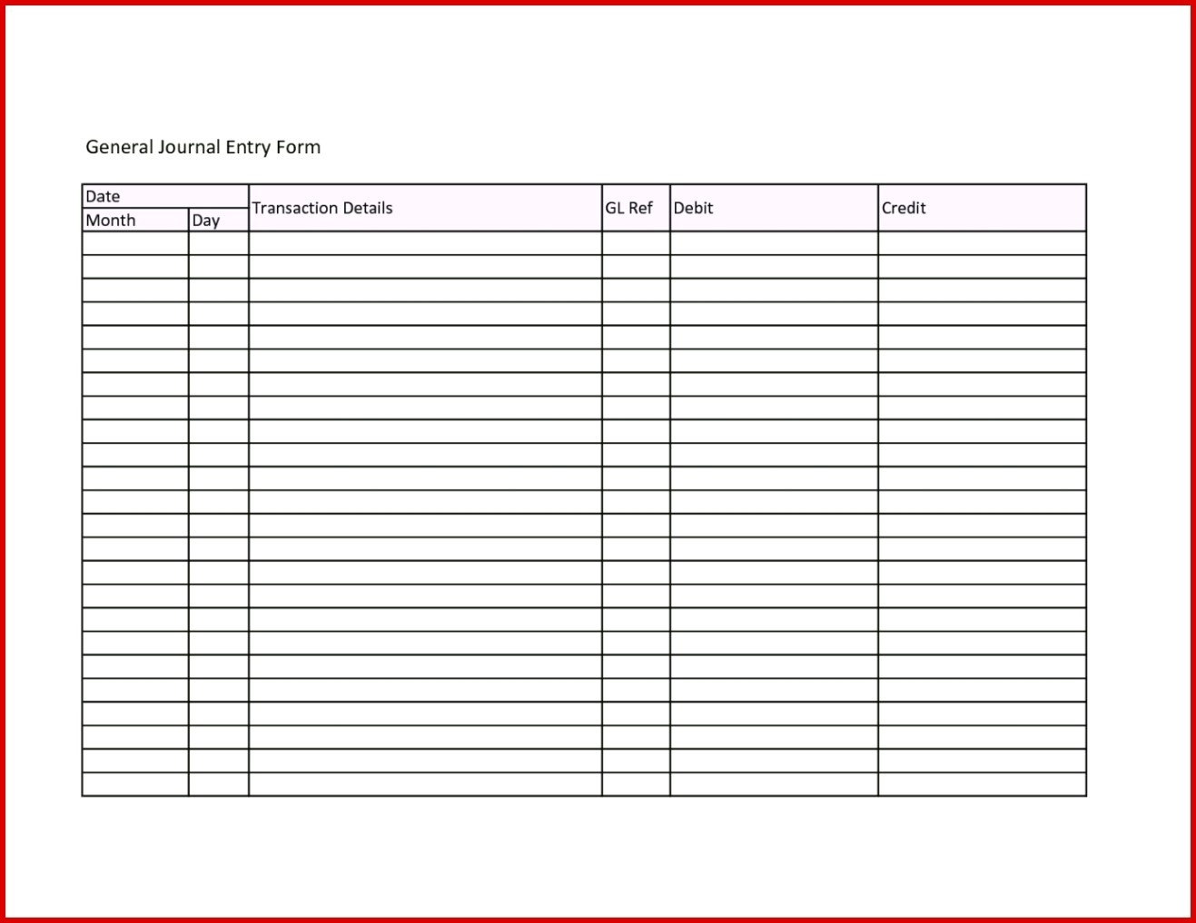 Journal Entry Template