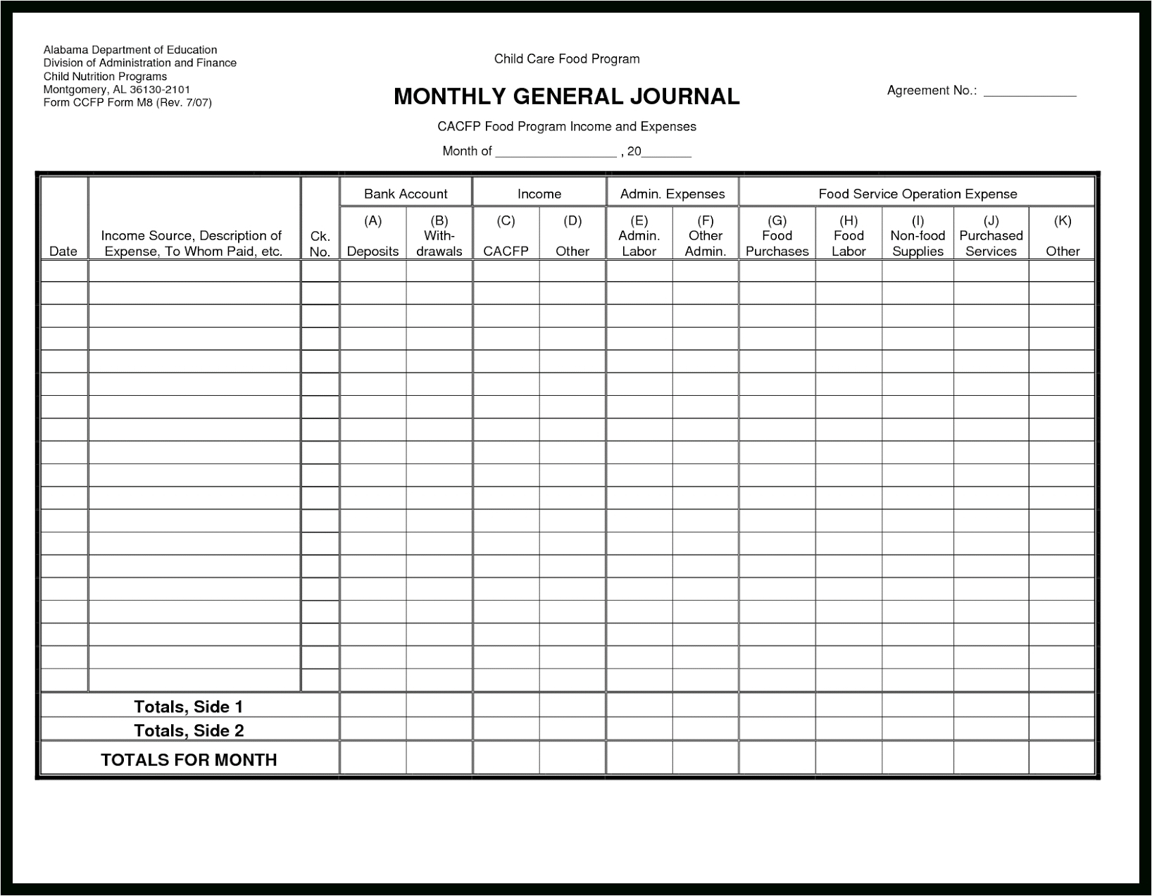 Manual Bookkeeping Template