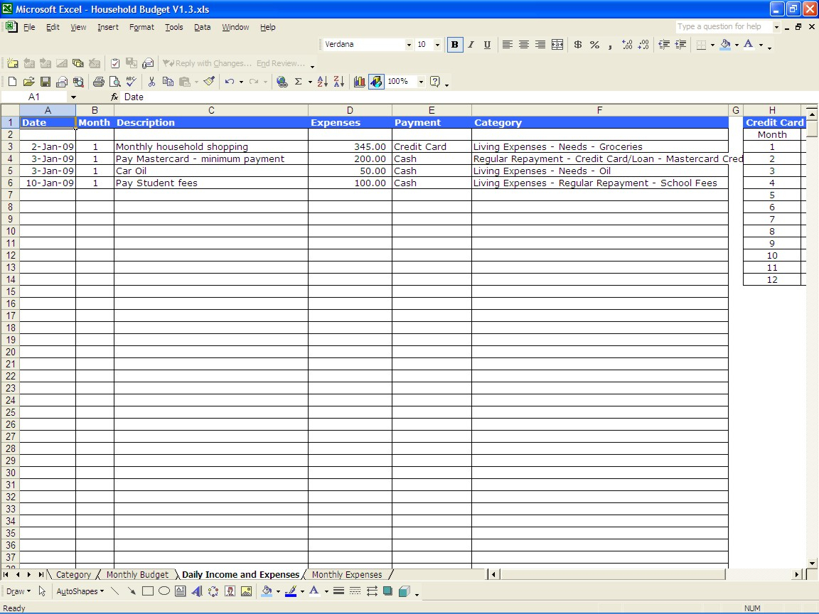 Monthly Expenses Spreadsheet Template Budget Worksheet