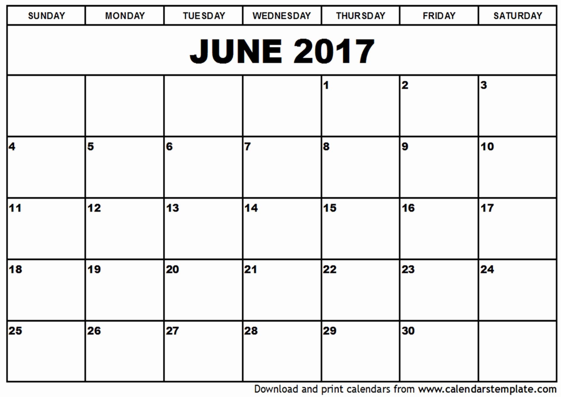 Printable Blank Calendar Template June Calendar