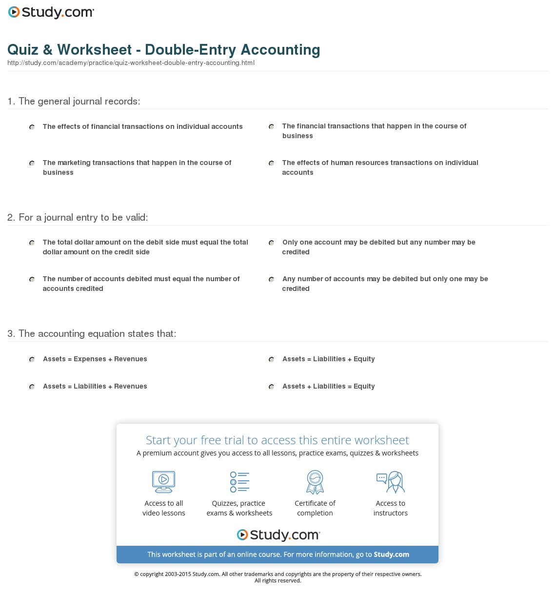 Quiz Amp Worksheet Double Entry Accounting