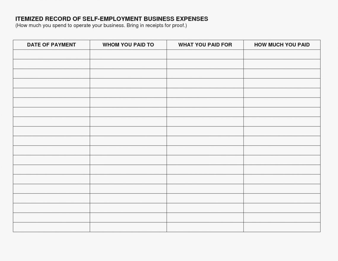 Self Employed Expenses Spreadsheet Accounting Sample