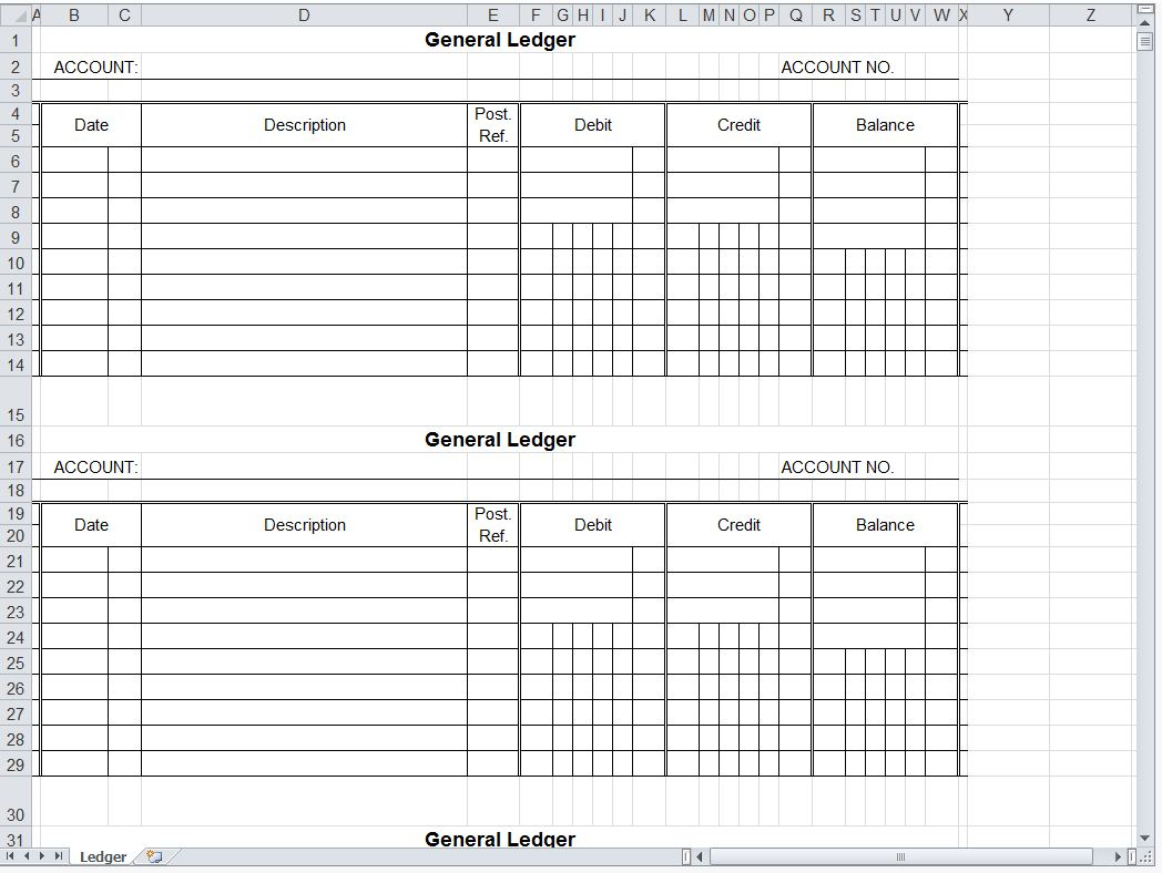 Small Business Accounting Ledger Template