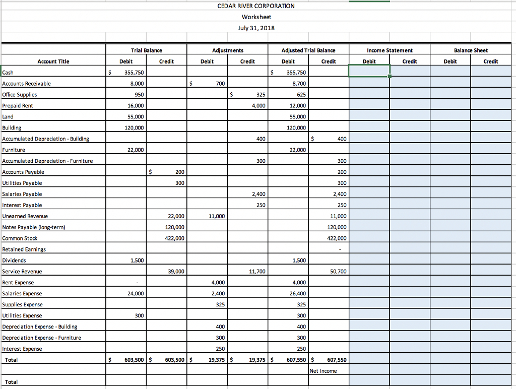 Income Statement Worksheet Excel Spreadsheet Template