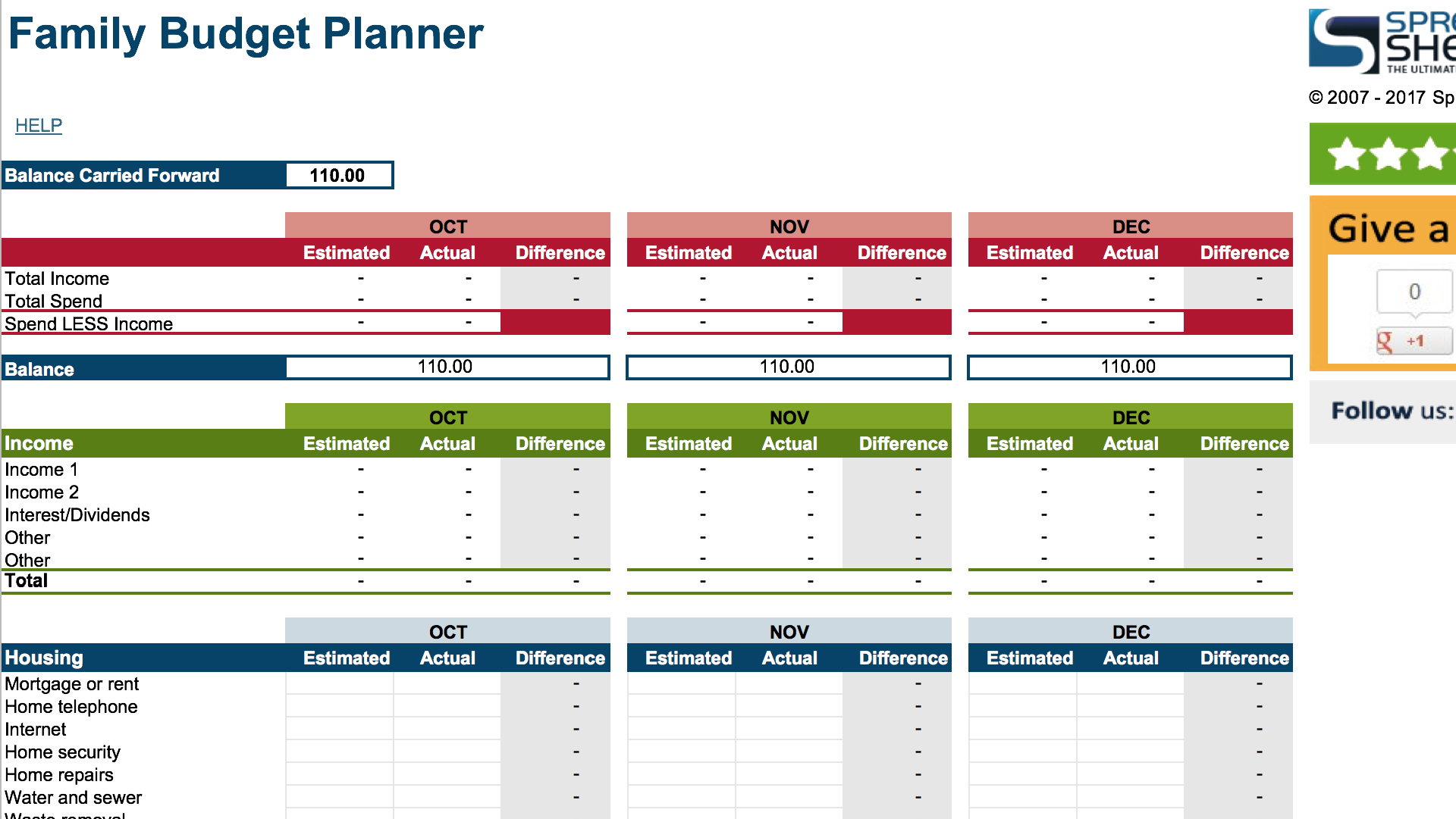 Simple Spreadsheet For Income And Expenses Excel