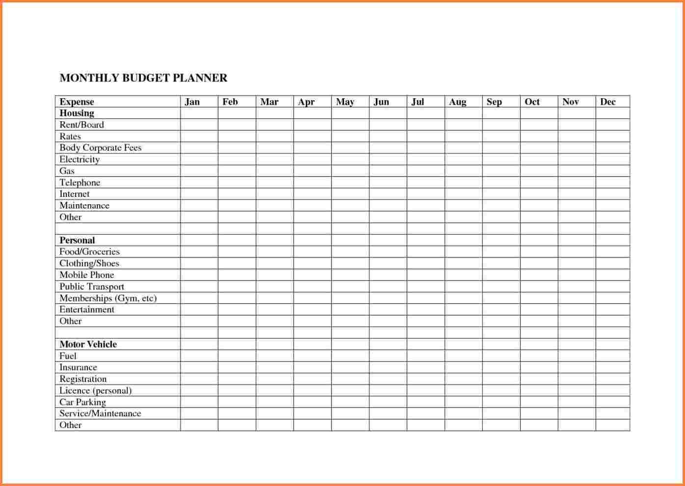 Business Budget Planning Worksheet Monthly Planner