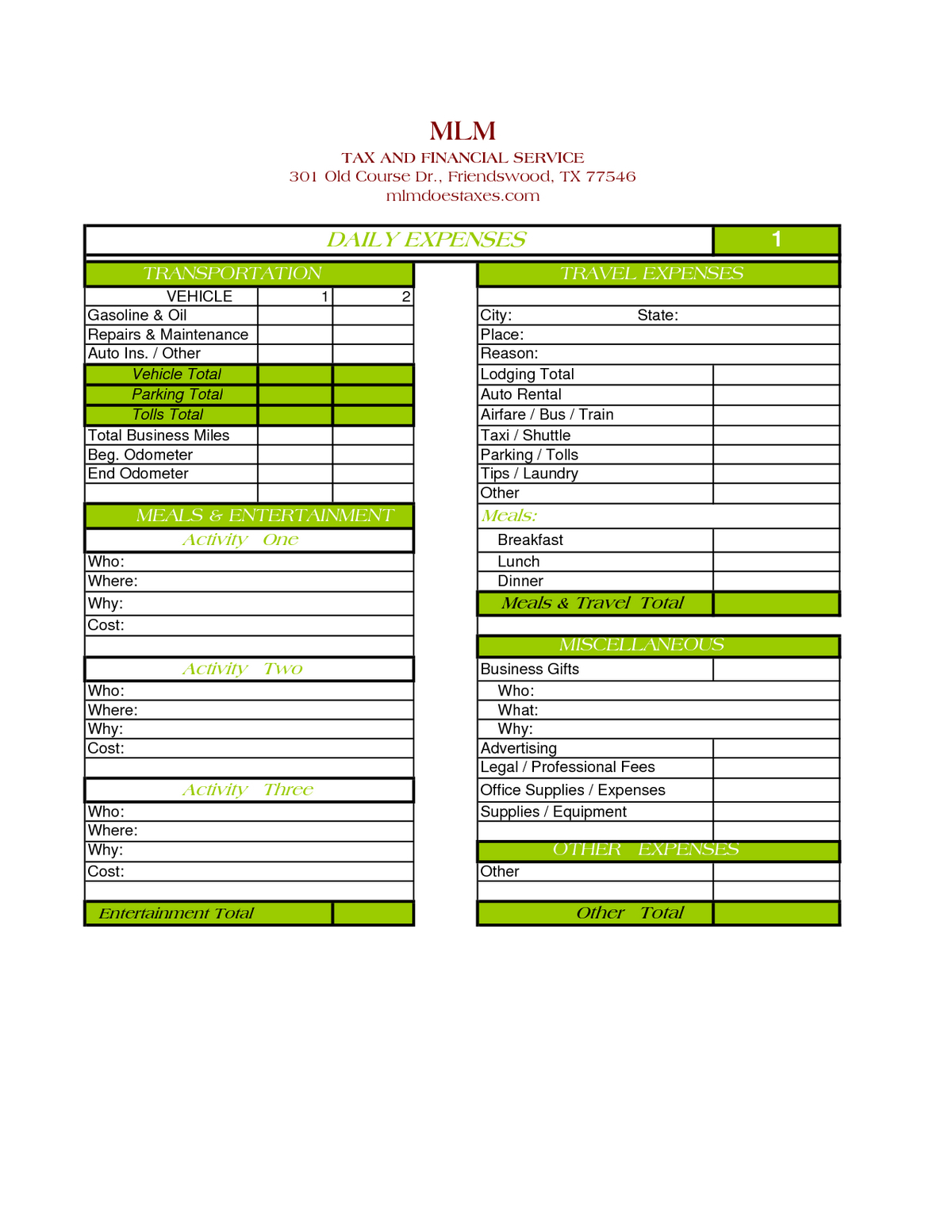 Business Expense Tracking Spreadsheet With Sample Daily
