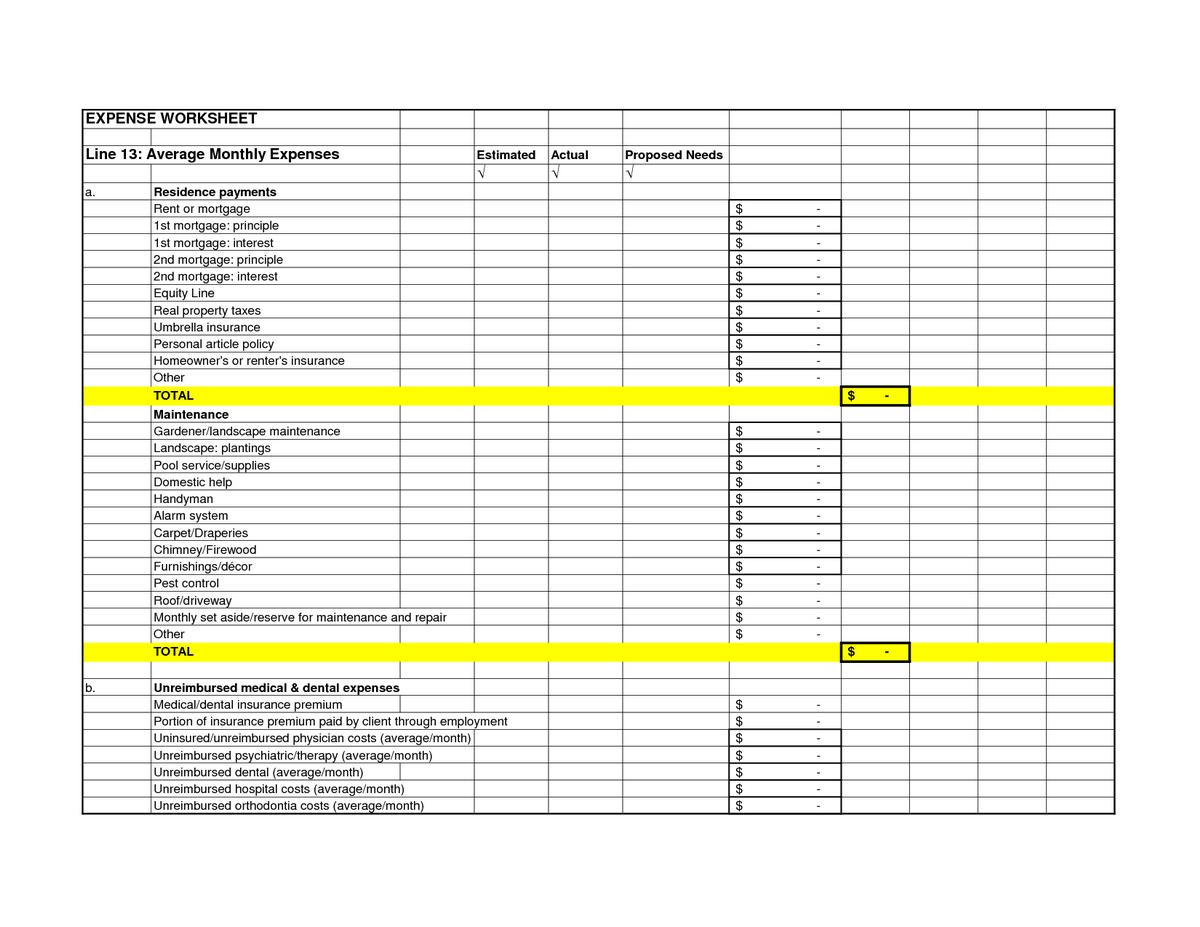 Business Spreadsheet Page 4 Business Spreadsheet For