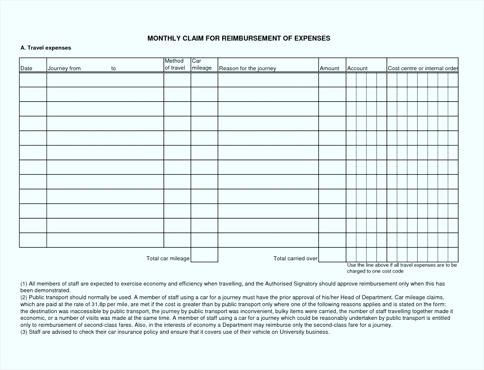 Business Mileage Claim Form Template Gallery Business