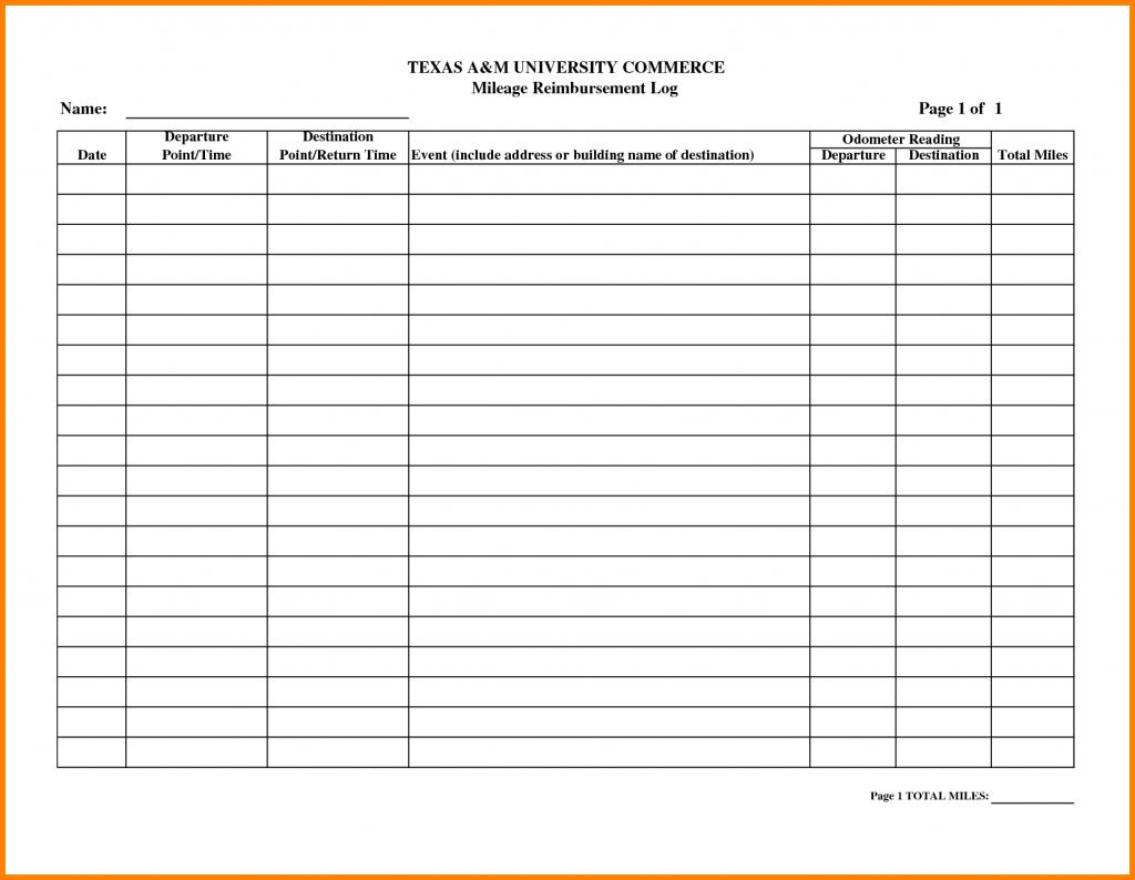 Example Of Mileage Spreadsheet Free Reimbursement