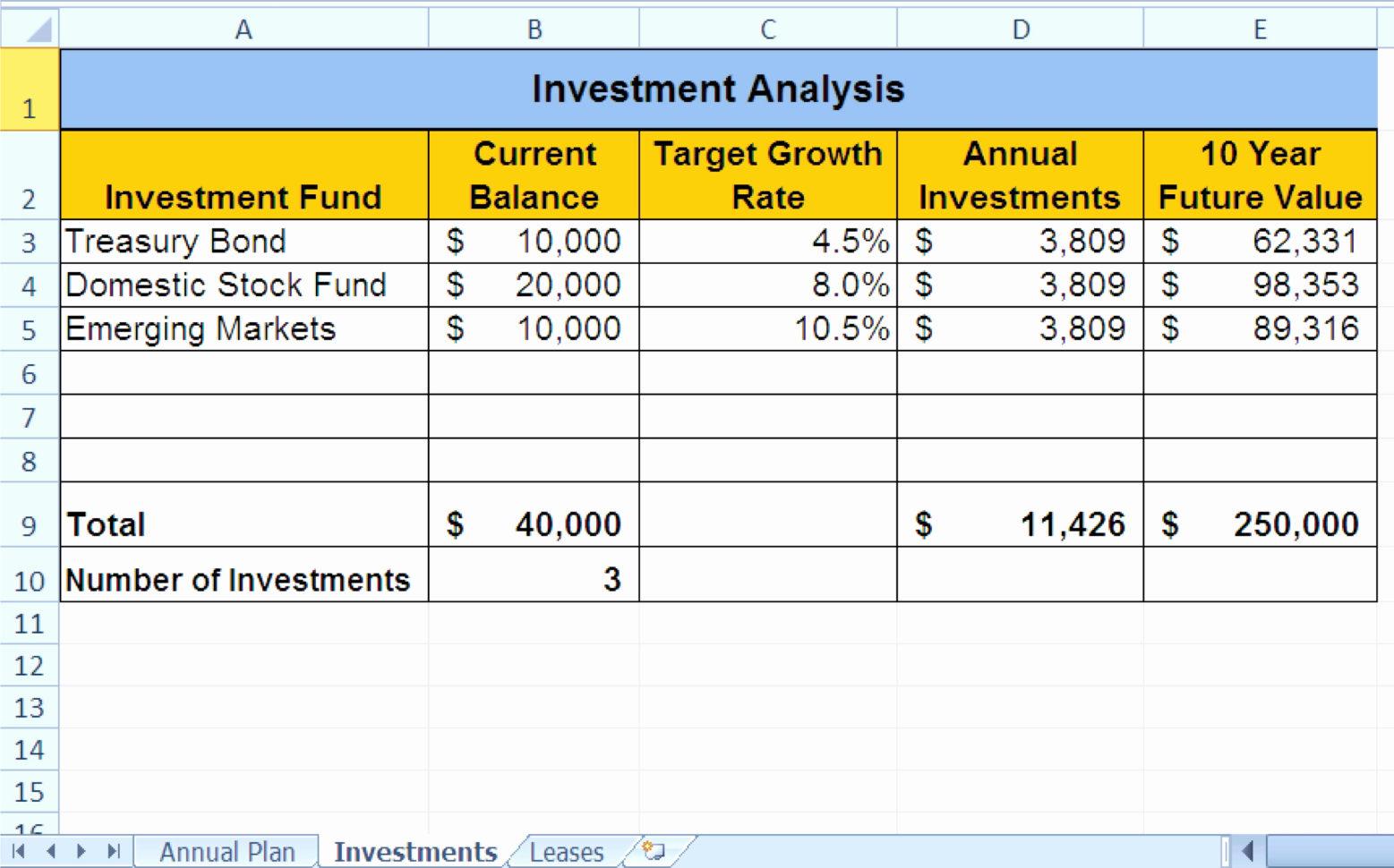 Excel Real Estate Investment Templates Elegant Investment