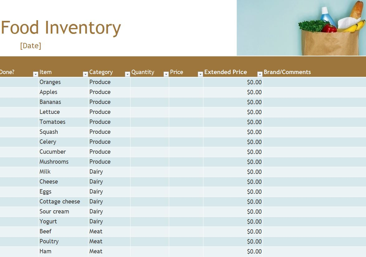 Food Inventory Template Free Picture Office Excel Coin