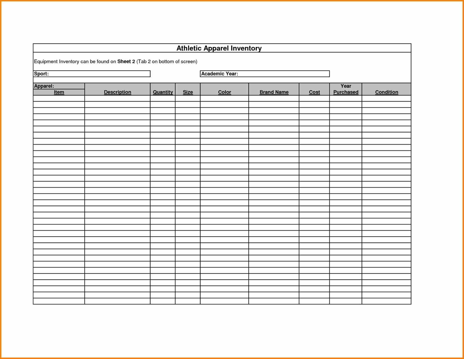 Form Template Excel Inventory Tracking Spreadsheet