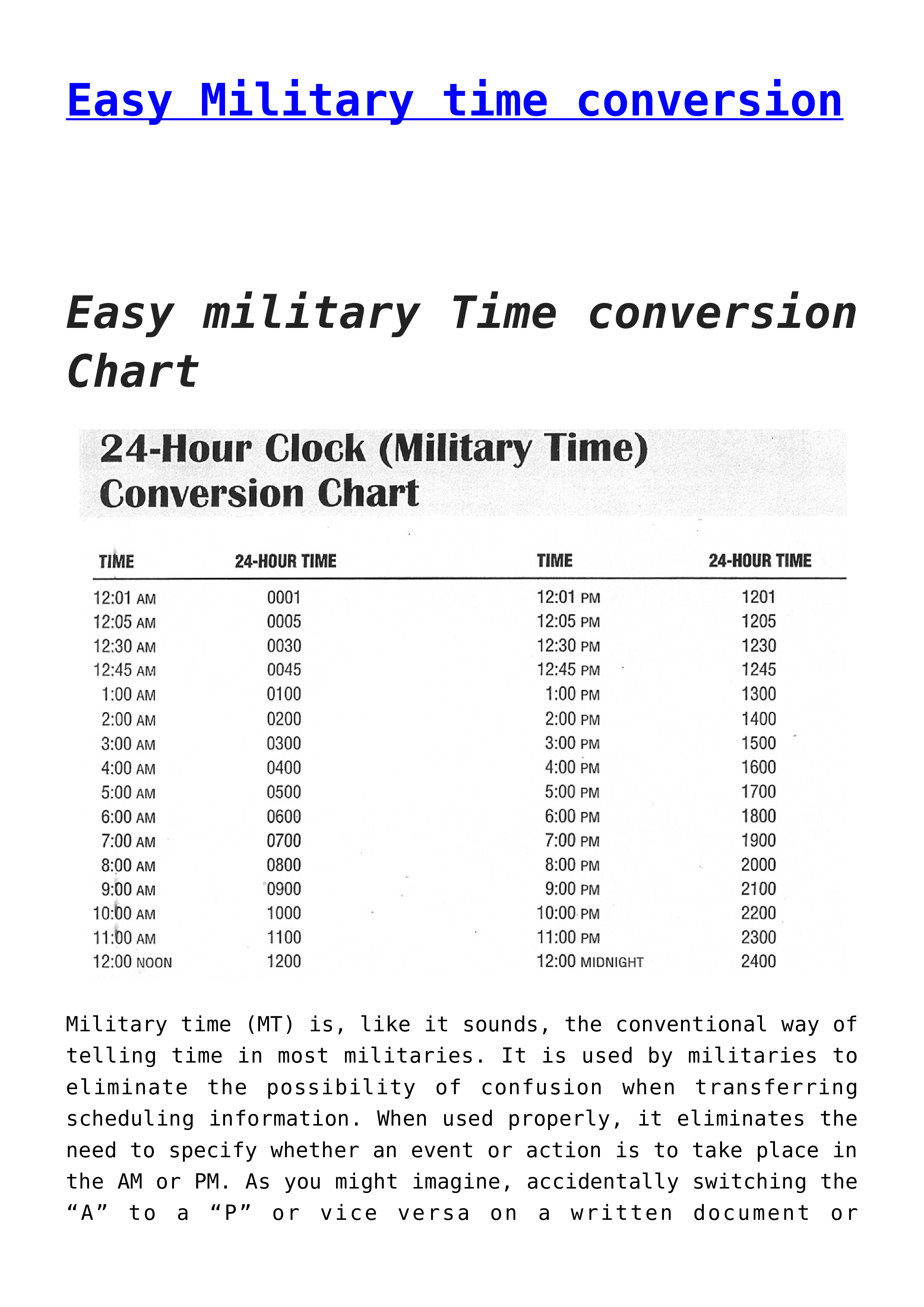 Free Easy Military Time Conversion Chart