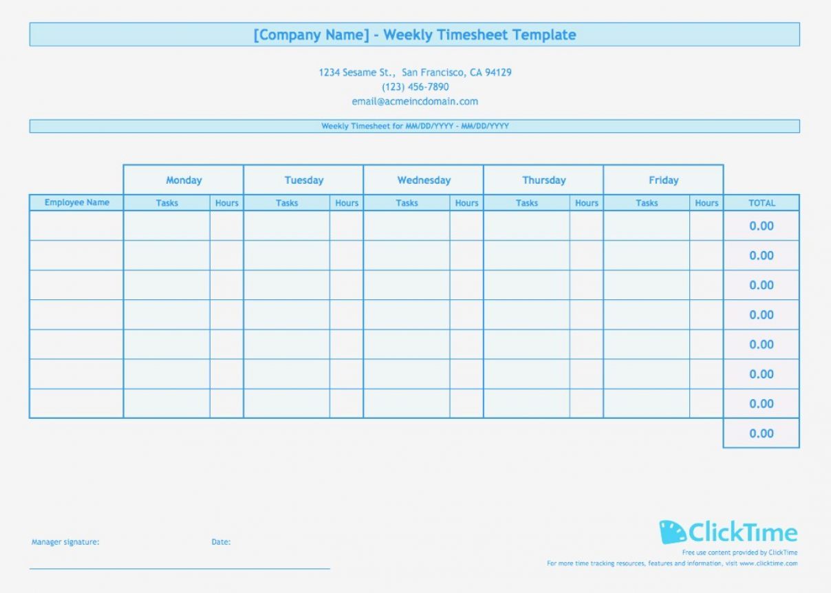 Multiple Employee Timesheet Template Thumbnail Weekly Blue