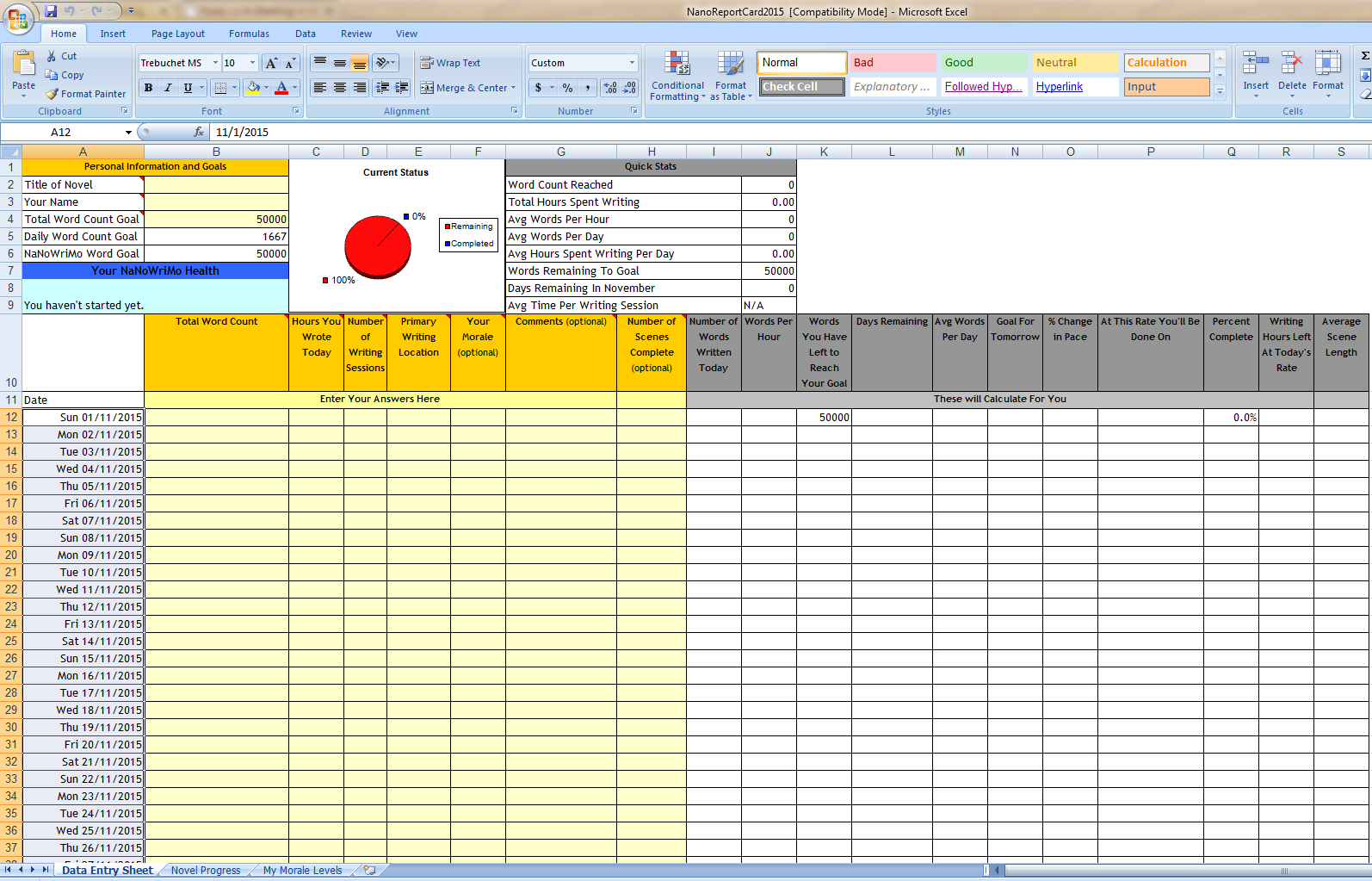 On Writing Word Count Spreadsheets