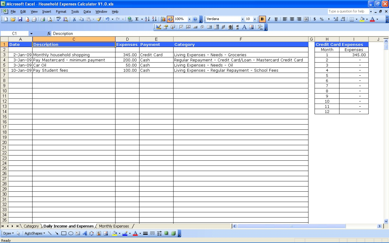 Monthly Spreadsheets Household Budgets Spreadsheet Softwar