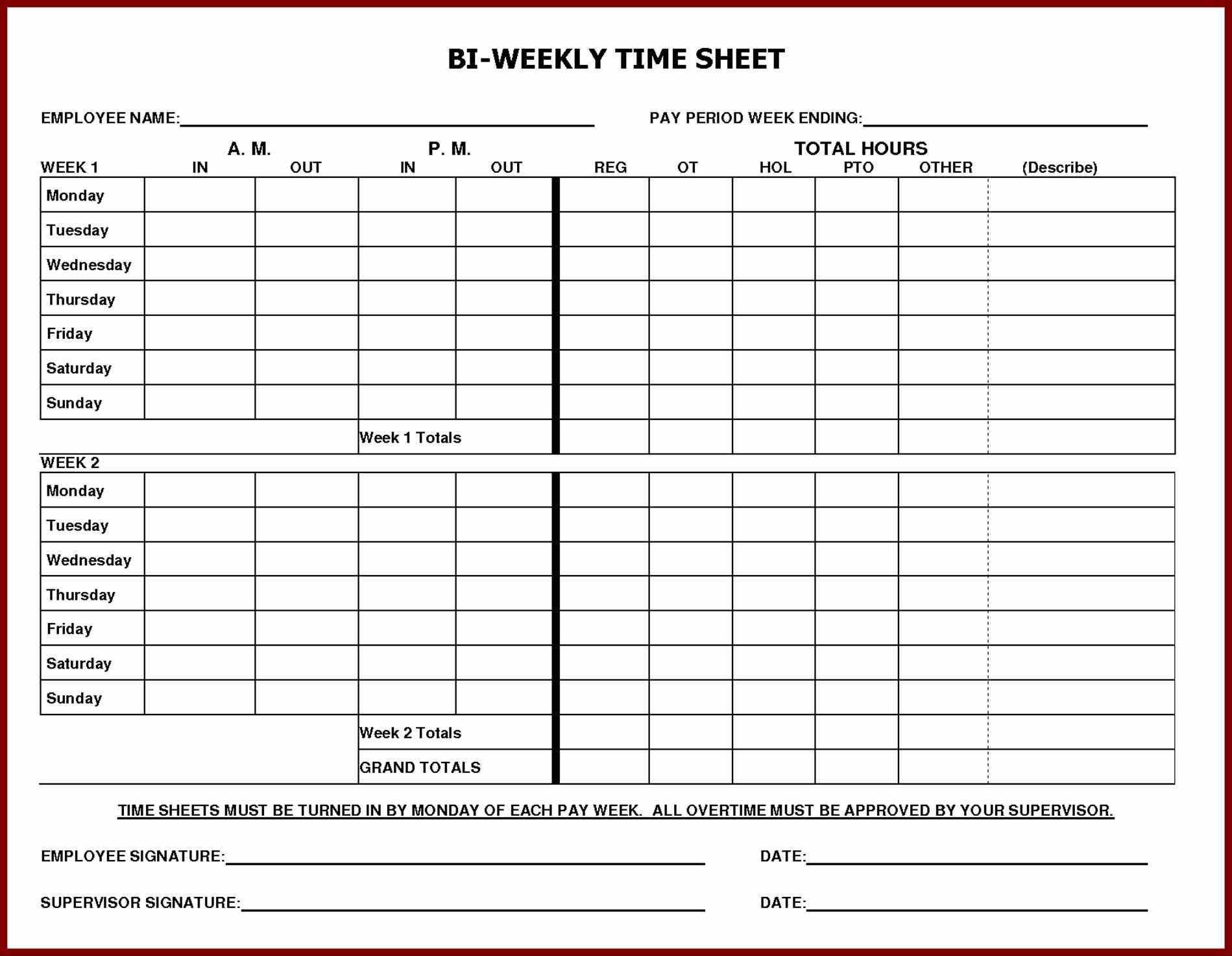 Printable Employee Time Sheet