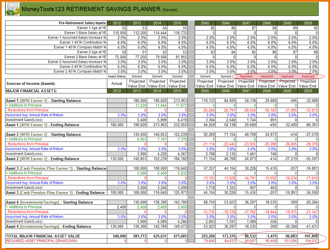 Sample Retirement Planning Worksheet Perfect Retirement
