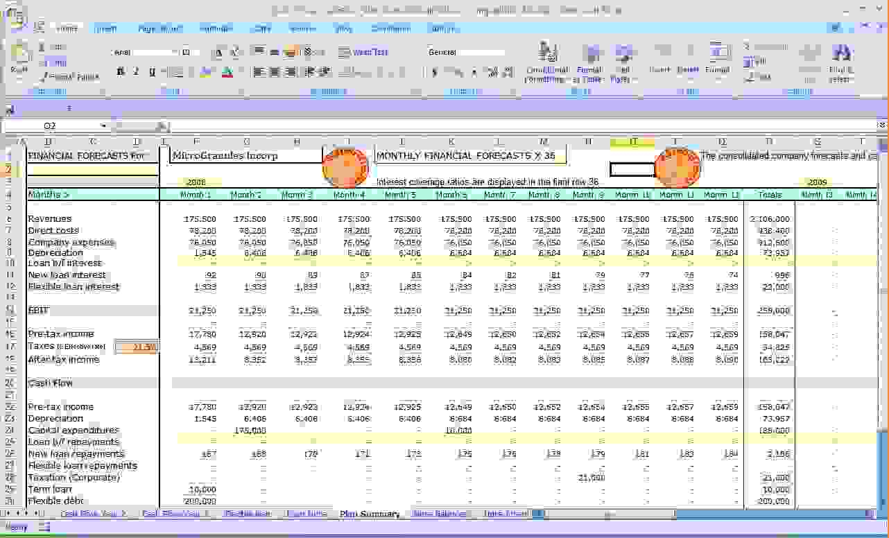Business Cash Flow Spreadsheet Spreadsheet Softwar