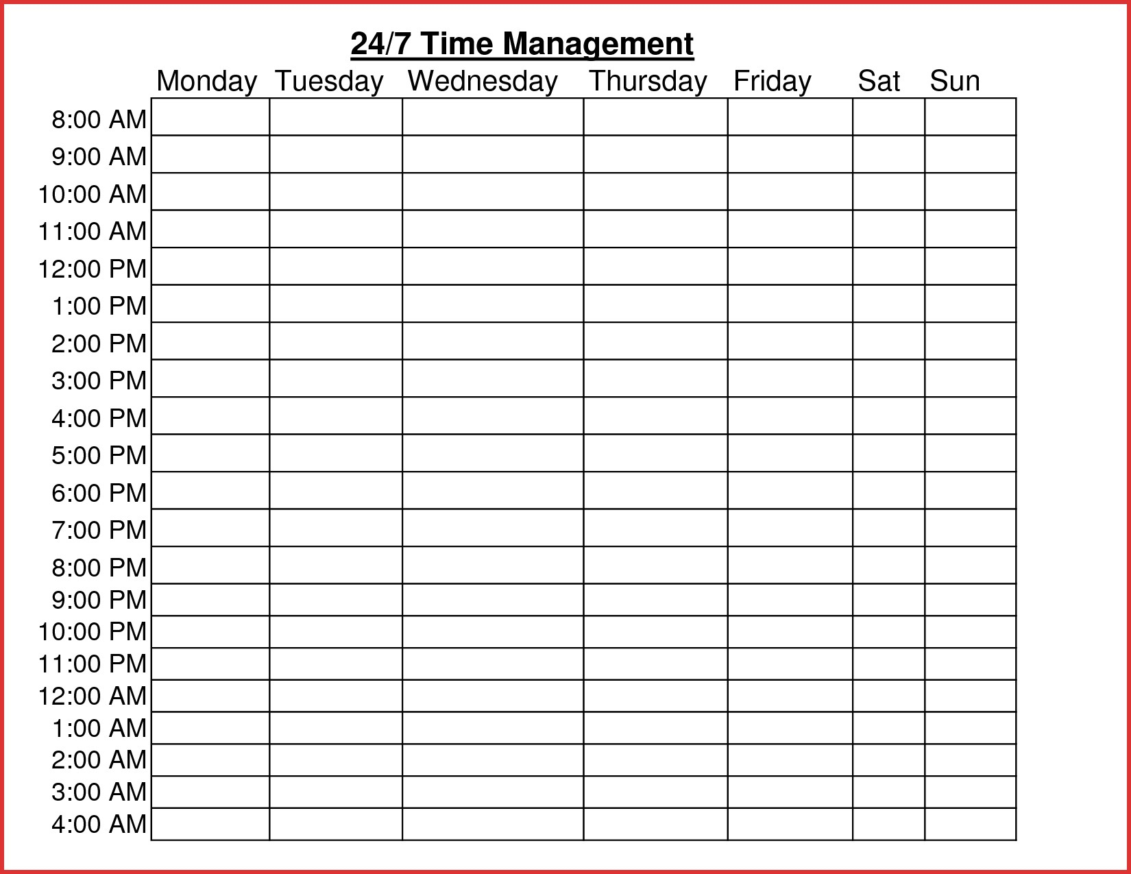 Time Management Worksheet Word Document Inspirationa