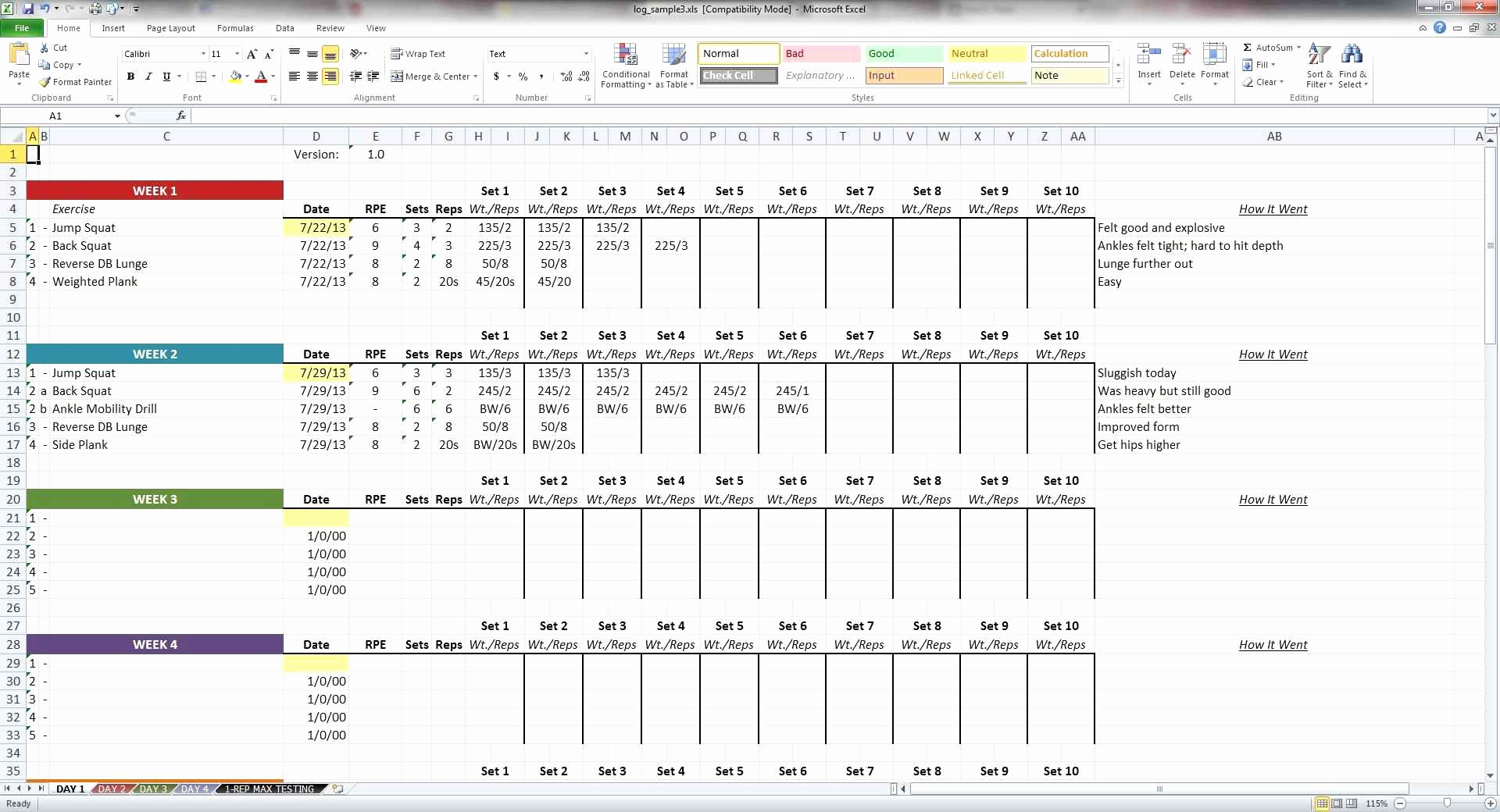 5 3 1 Spreadsheet Intended For Crossfit Programming