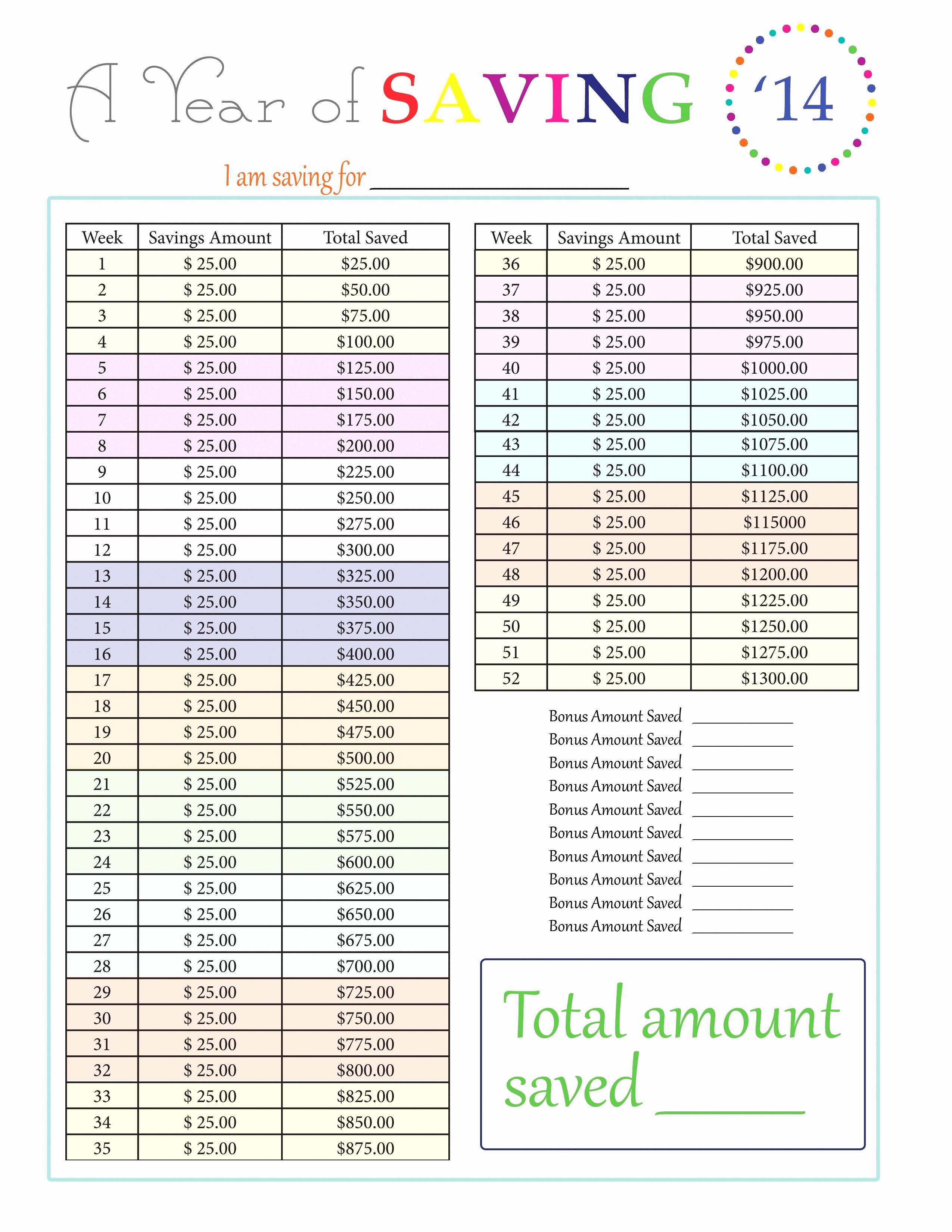 52 Week Savings Plan Spreadsheet For Week Spreadsheet