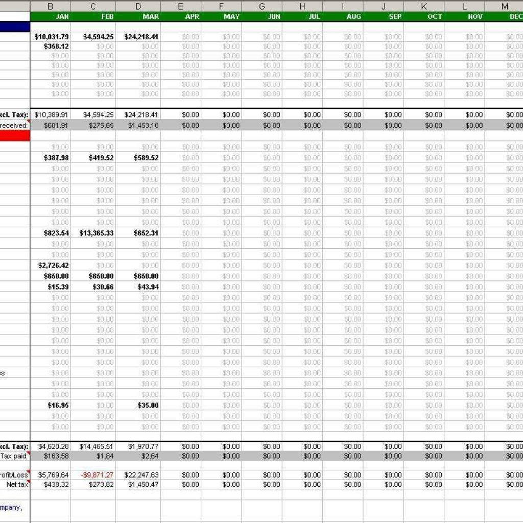 Accounting Spreadsheets For Small Business Free Pertaining