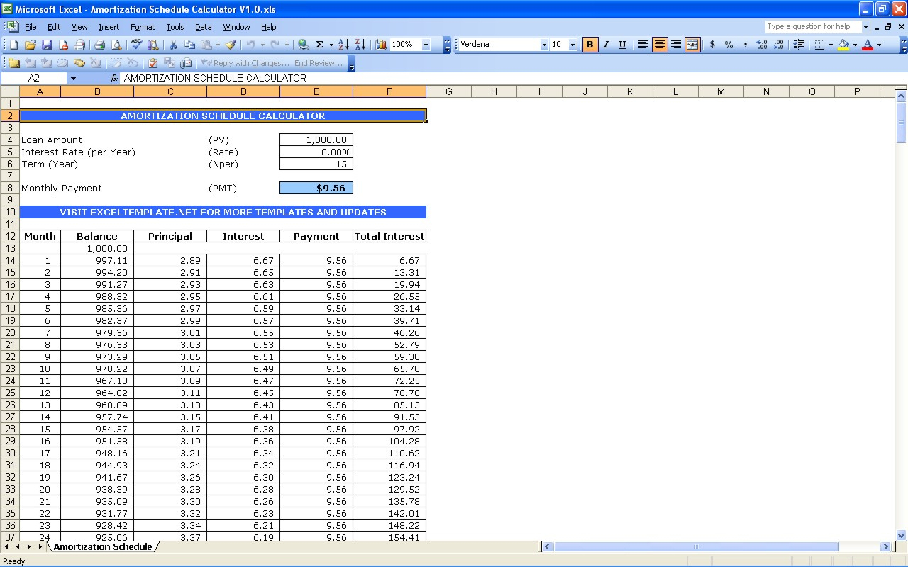 Amortization Schedule Spreadsheet Pertaining To Download