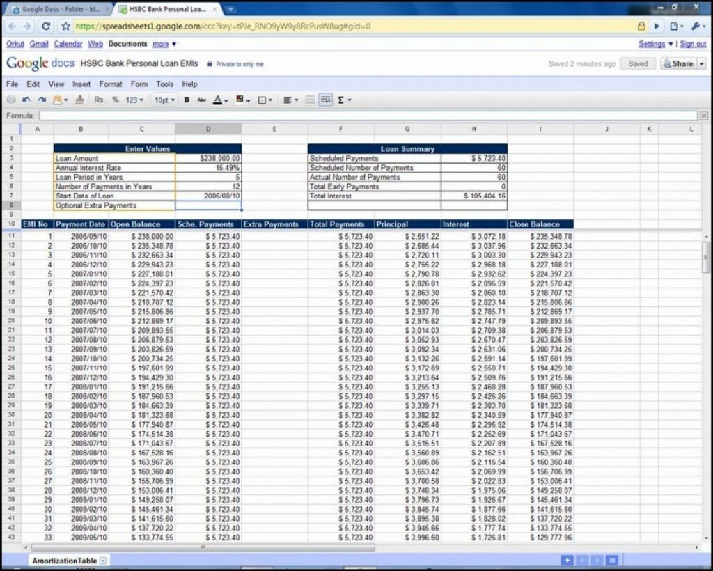 Amortization Schedule Spreadsheet Regarding Excel