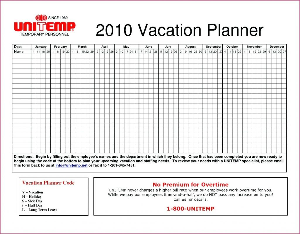 Annual Leave Spreadsheet Template Throughout Template A3