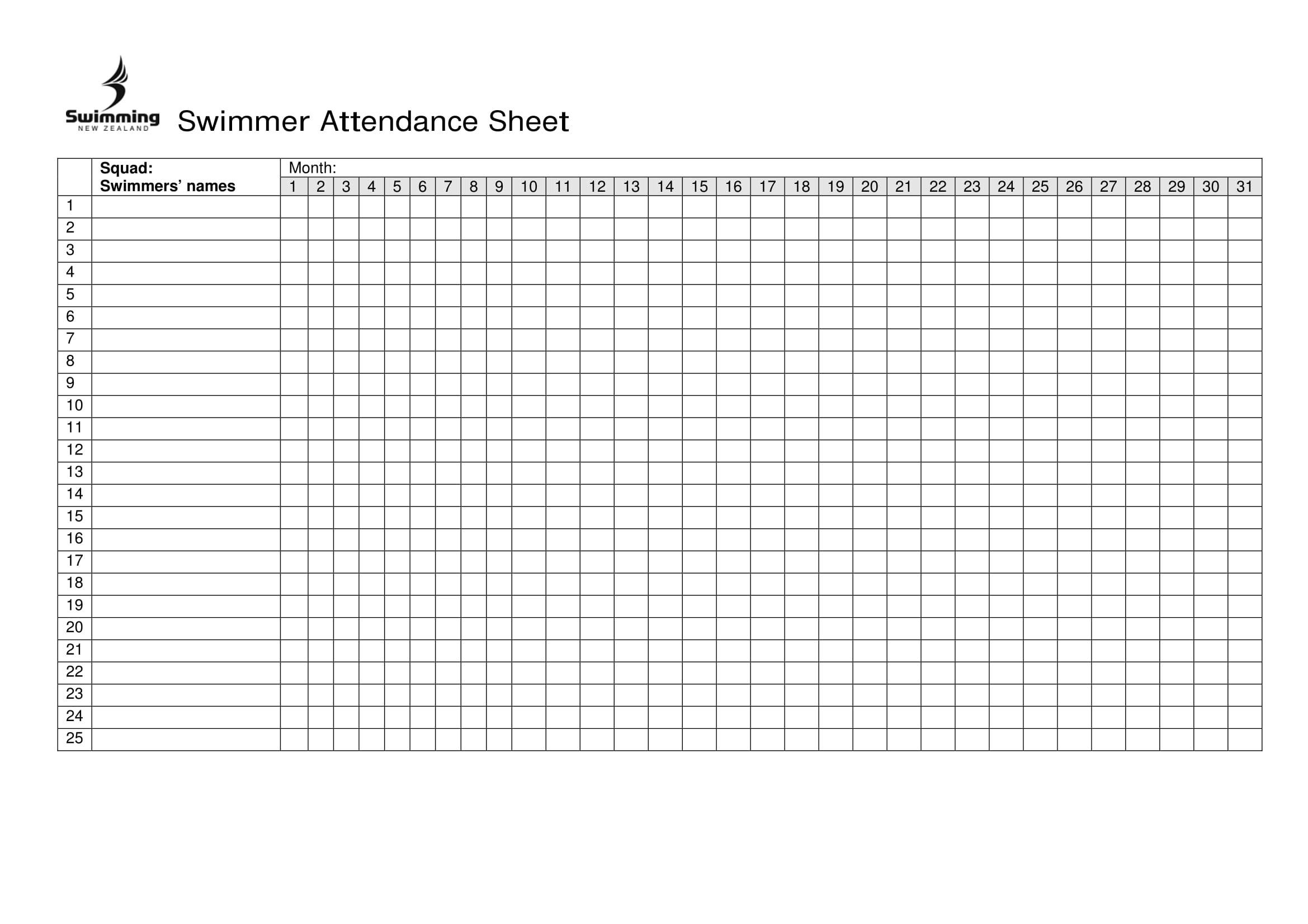 Attendance Spreadsheet Regarding 10 Printable Attendance
