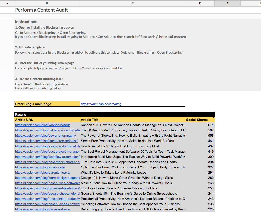 Audit Spreadsheet With Regard To Perform A Content Audit