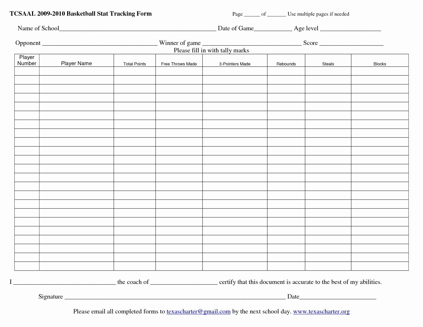 Basketball Stats Spreadsheet Regarding Printable