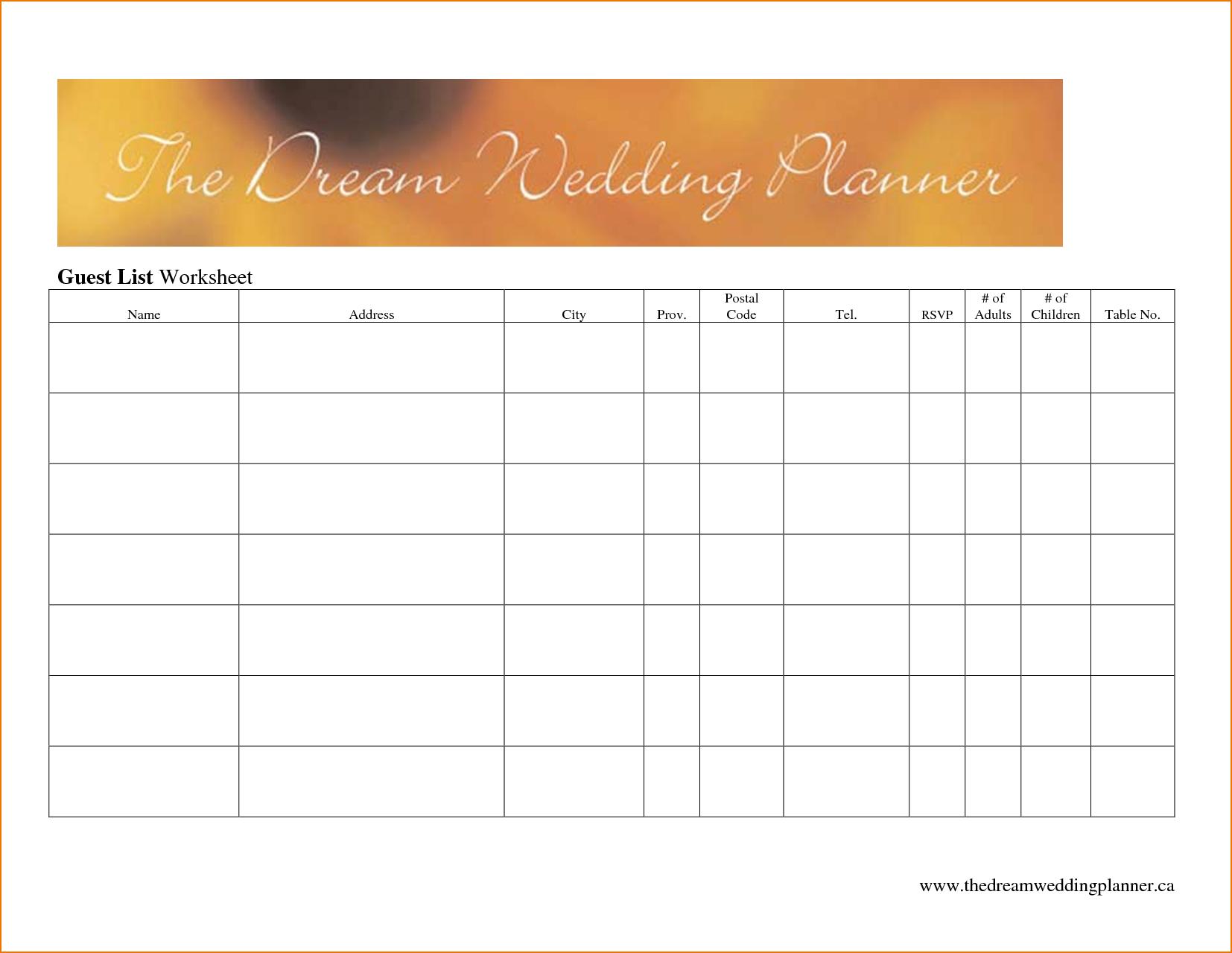 Best Wedding Guest List Spreadsheet Download With Regard