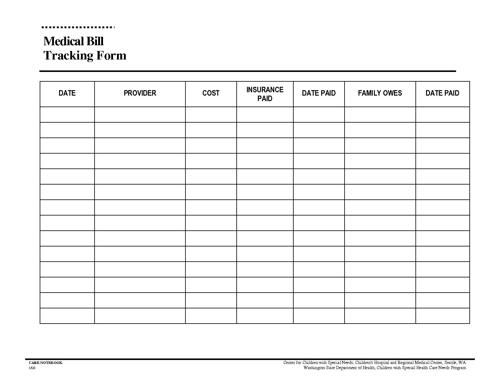 Bill Tracker Spreadsheet Spreadsheet Downloa Medical Bills