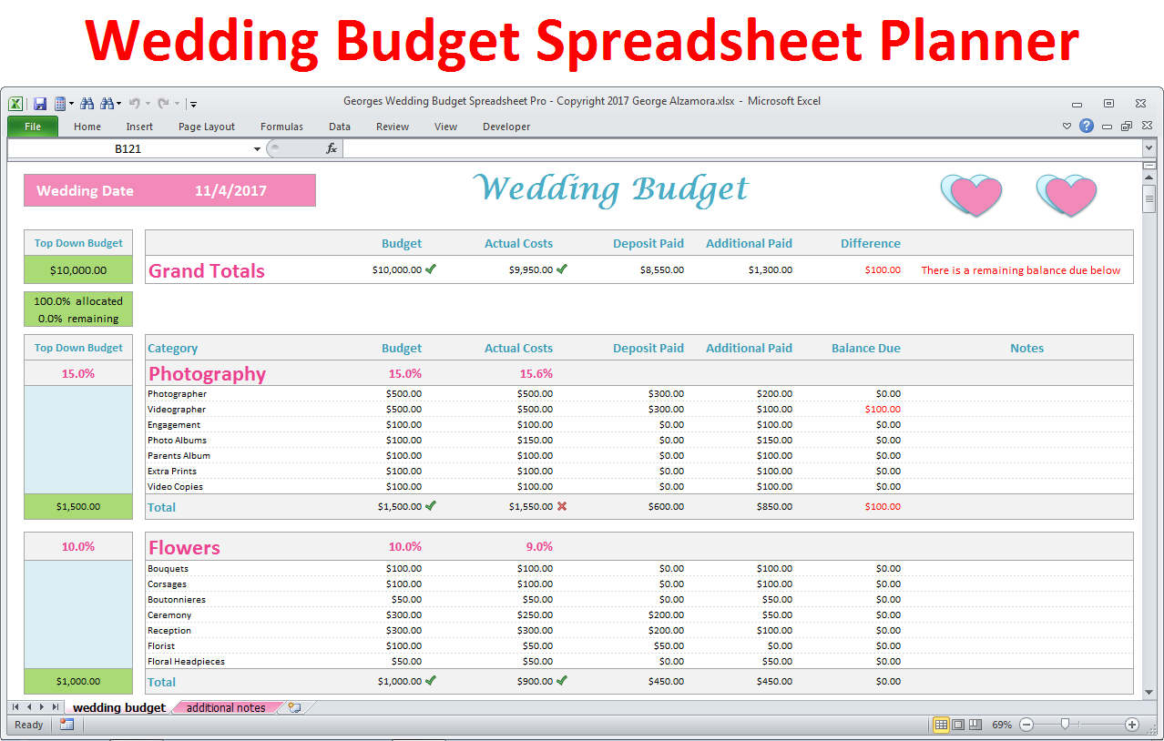 Bridal Budget Spreadsheet Spreadshee Bridal Musings