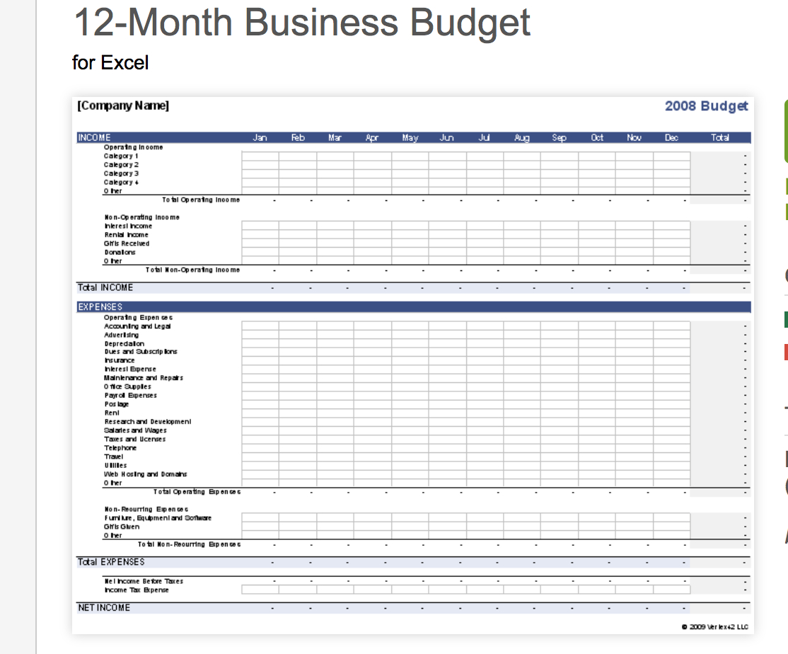 Business Budget Spreadsheet Excel With Regard To 7 Free
