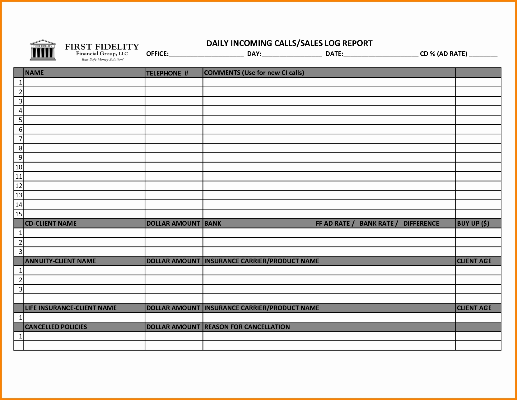 Call Tracking Spreadsheet Template Inside Sales Call